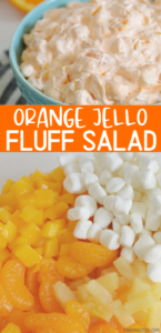 Orange Jello Fluff Salad is sure to become a new favorite side dish recipe! Serve it up during the holidays, summer potluck or just because. It is a very versatile recipe and features canned fruit and no cottage cheese!