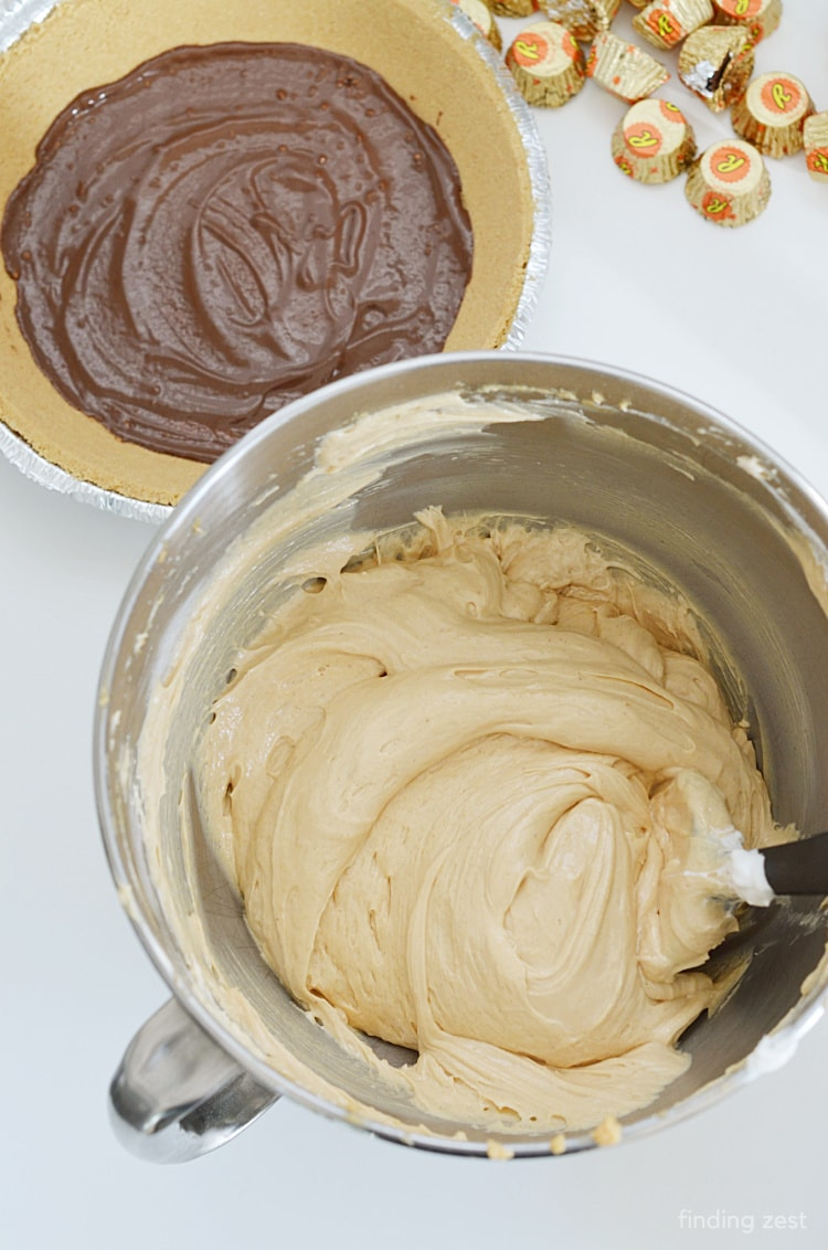 Peanut Butter pie batter ready to go in graham cracker crust