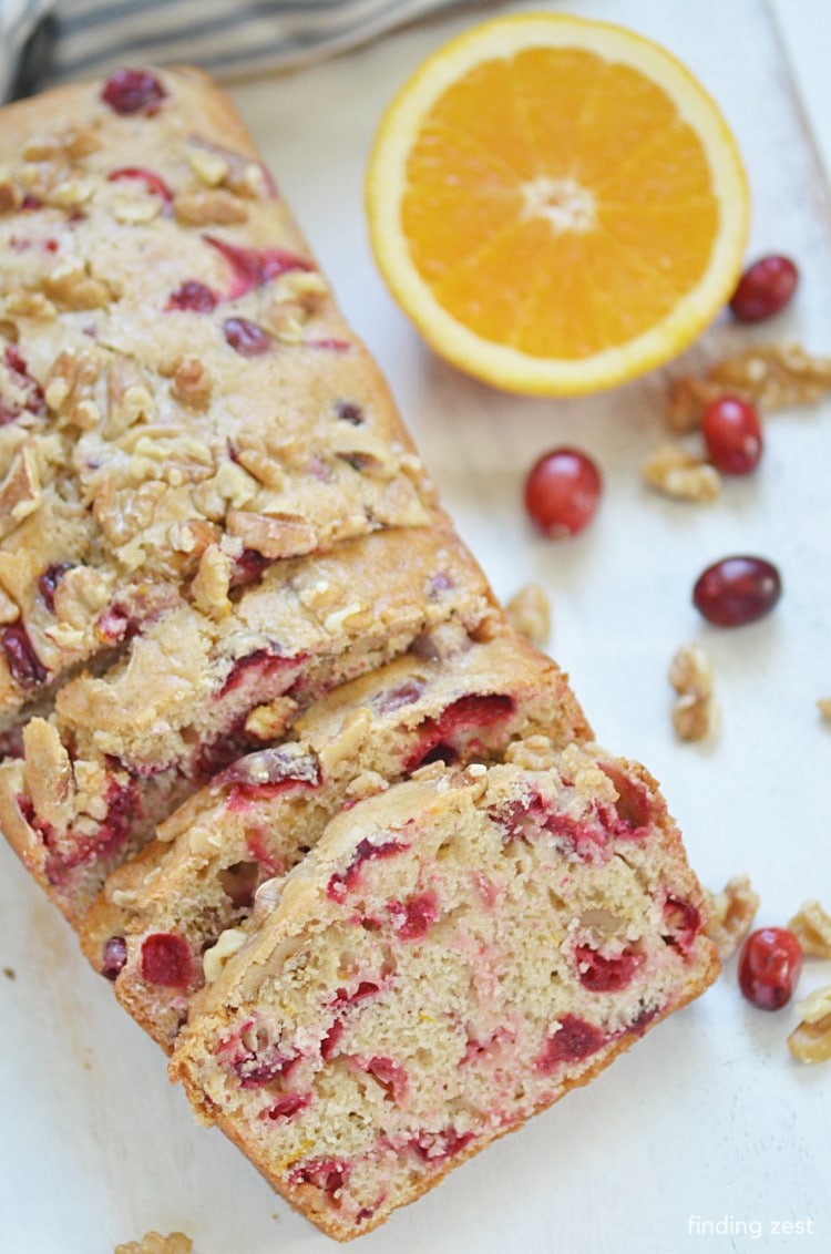 Cranberry Bread with Walnuts, perfect for the holidays or any time of year! Great combination of flavors with cranberries, walnuts and orange!