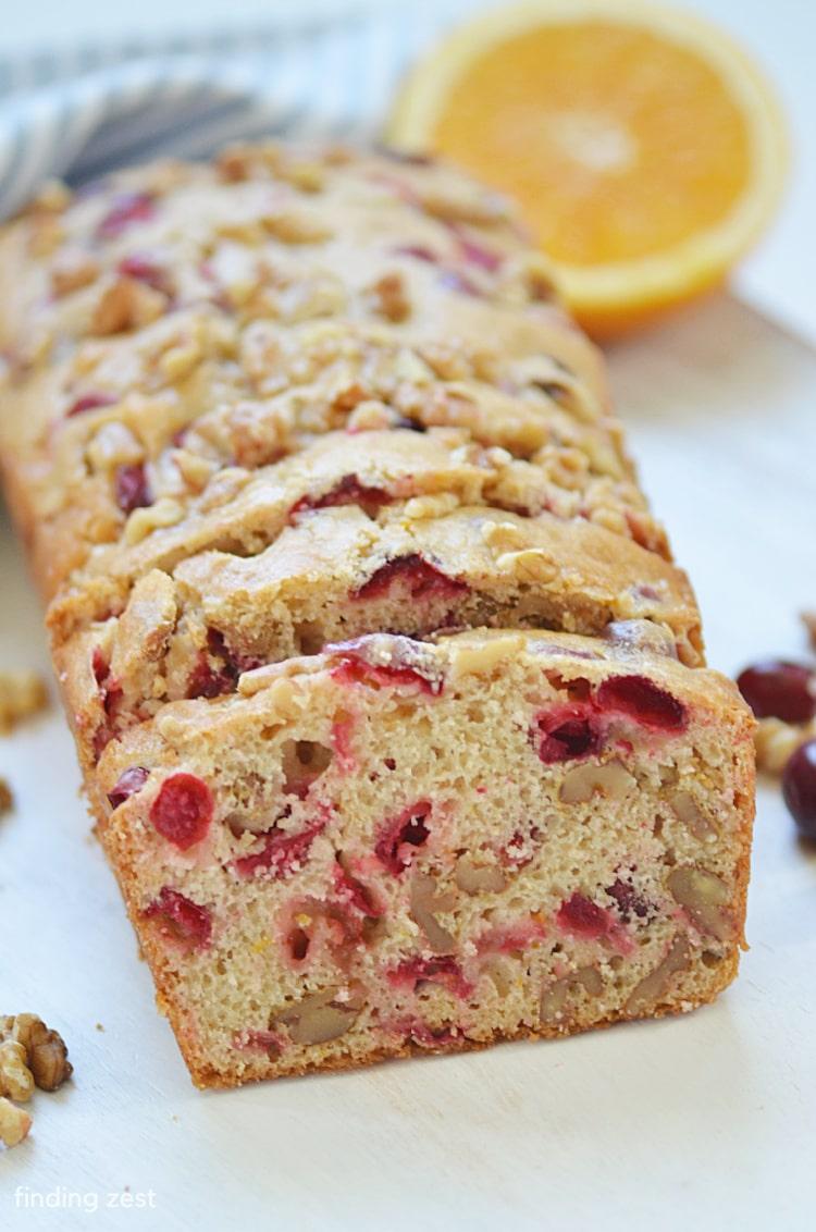 Cranberry Orange Walnut Bread recipe for breakfast or brunch