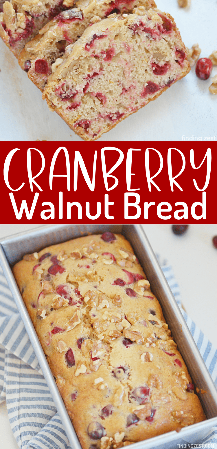 Cranberry Walnut Bread is a delicious bread from scratch that is so easy to make! Using fresh cranberries, walnuts and orange juice and zest, this quick bread recipe offers an amazing combination of flavors.