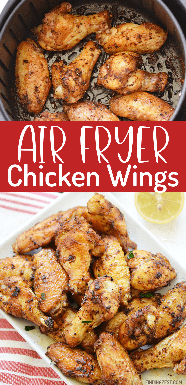 Air Fryer Chicken Wings result in the best wings that are so crispy!! This dry rub chicken wing recipe is so good and easy! These wings are not spicy but loaded with flavor. Everyone will be happy when you serve up these wings!