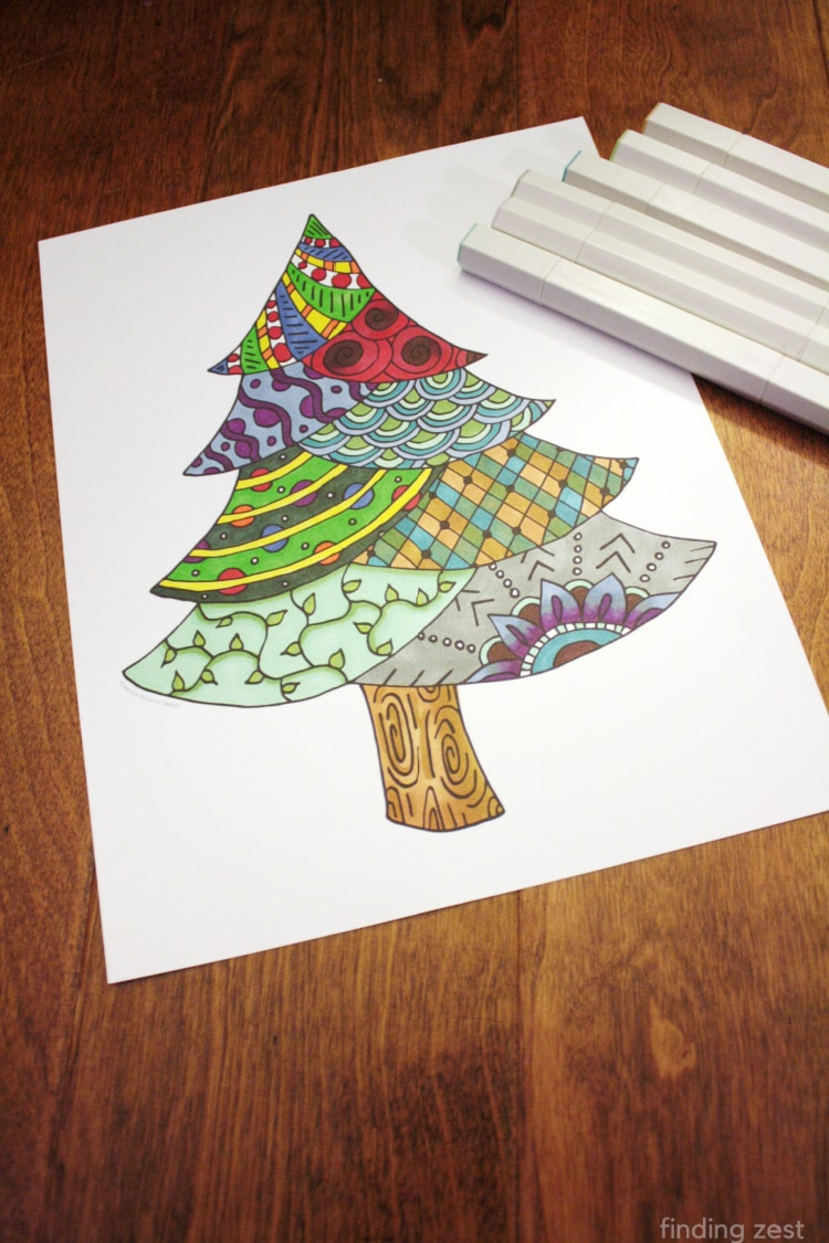 This Christmas Tree Coloring Page also works great as a winter tree! Whether you color with markers, colored pencils or crayons, this free printable is a fun activity to fight boredom.