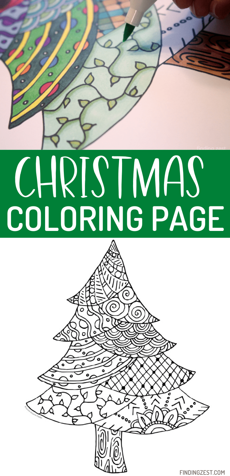 Christmas Coloring Page: This pine tree coloring page works great as Christmas Tree or just a winter tree! Whether you color with markers, colored pencils or crayons, this free printable is a fun activity to fight boredom.