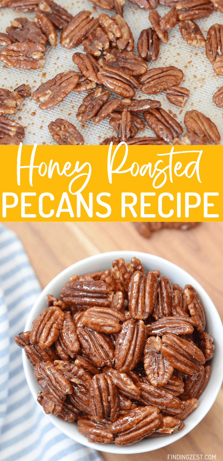 Honey roasted pecans are a deliciously crunchy snack that is hard to resist! Bake them in your oven for a tasty treat that is both salty and sweet. What is not to love?