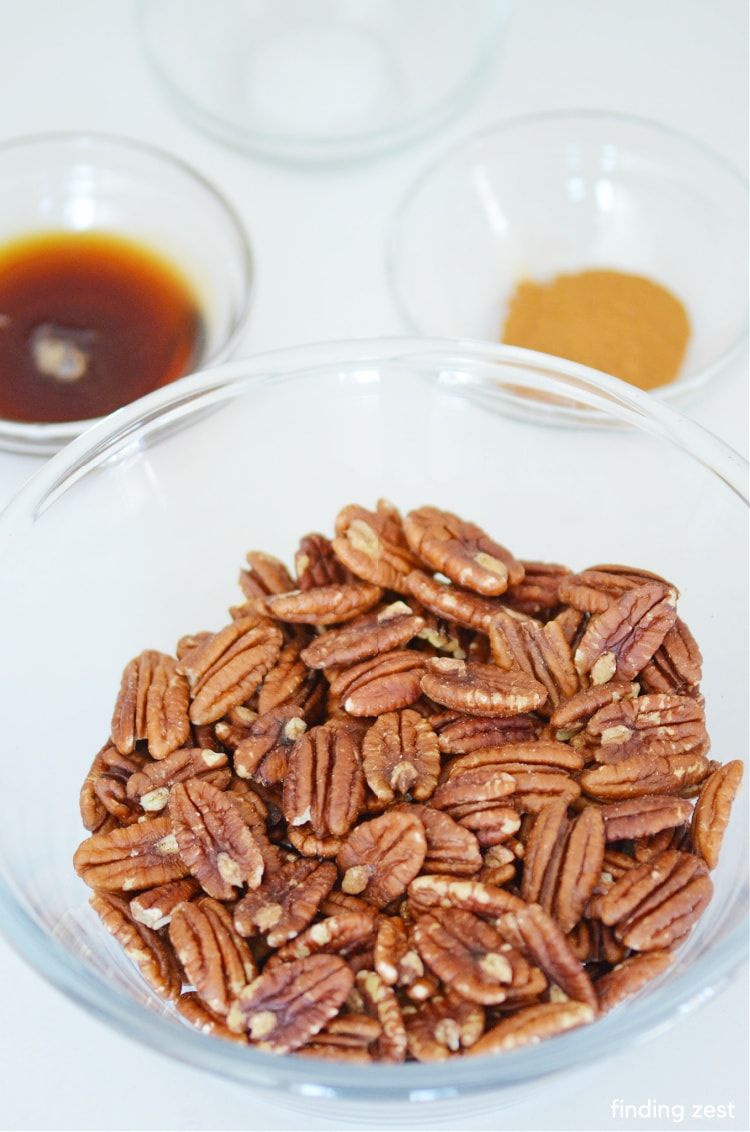 Ingredients needed to make roasted nuts