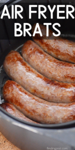 Air Fryer Brats are a super easy dinner! Enjoy juicy bratwurst any time by making brats in the air fryer. Serve with your favorite condiments, onions, sauerkraut or sauteed peppers for a quick meal in under 20 minutes.