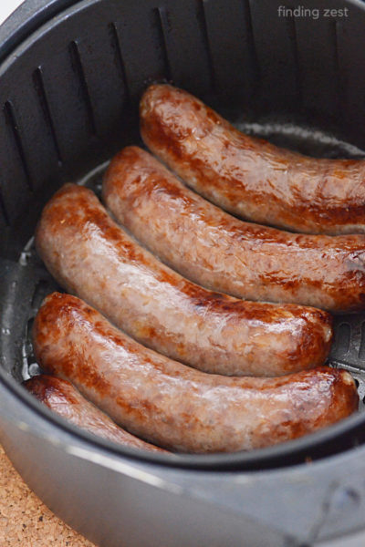 Juicy brats in the air fryer