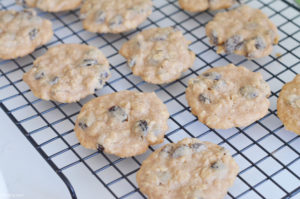 Cooling Oatmeal Raisin Cookies on a wire rack