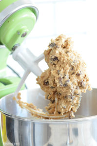 Oatmeal Cookie Batter on a stand mixer batter attachment