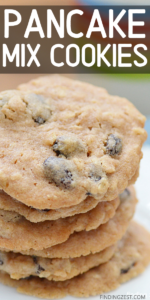 This pancake mix cookie recipe is so easy! Make oatmeal raisin or oatmeal chocolate chip with this simple recipe using staple ingredients and Bisquick. You won't believe how good these chewy cookies turn out.