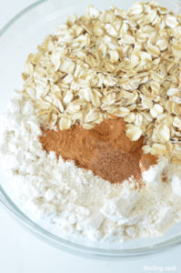Pancake mix, oatmeal, cinnamon and nutmeg in a bowl for cookies