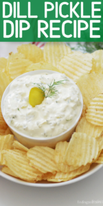 Calling all pickle lovers! Come dip your favorite potato chips, crackers, bread or veggies into this creamy dill pickle dip made with cream cheese. Loaded with flavor, this 5 minute dip is a snap to prepare and will be your new favorite snack or appetizer recipe