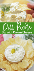 If you love pickles, you'll love this dill pickle dip recipe with cream cheese and sour cream. This easy dip works great paired with potato chips or your favorite crackers.