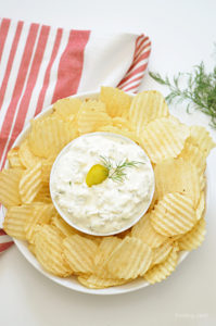 Calling all pickle lovers! Come dip your favorite potato chips, crackers, bread or veggies into this creamy dill pickle dip made with cream cheese. Loaded with flavor, this 5 minute dip is a snap to prepare and will be your new favorite snack or appetizer recipe!